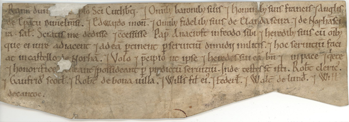 Oldest: grant of land by the Bishop of Durham, Latin, c.1122 (Ref No. D/Bo/D 37)