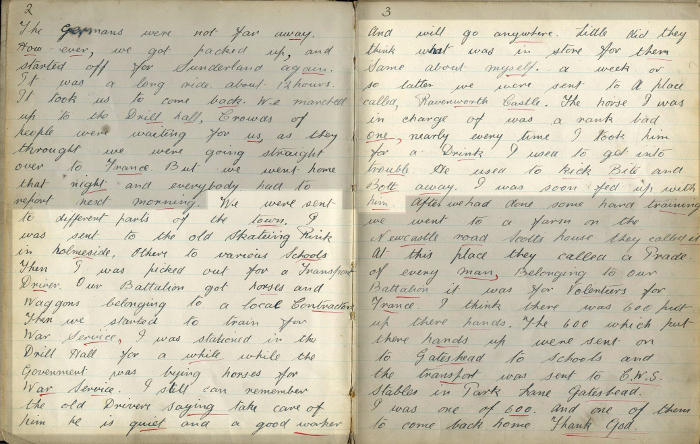 Diary pages 2-3: Newcastle horse arrives (Ref No. D/DLI 7/700/11)
