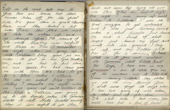 Diary pages 16-17: Gas attack (Ref No. D/DLI 7/700/11)