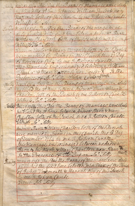 Banns/marriage entries, Durham, St. Giles, 1764 (EP/Du.SG 11) - Copyright © Durham County Record Office.