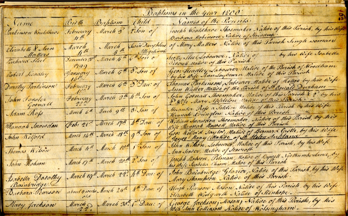 Baptism entries, Auckland, St. Andrew, 1800 (EP/Au.SA 1/5) - Copyright © Durham County Record Office.