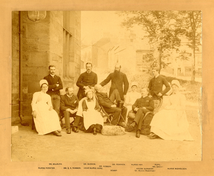 Durham County Hospital surgical, medical and nursing staff, June 1885 (H/Du 36) - Copyright © Durham County Record Office.