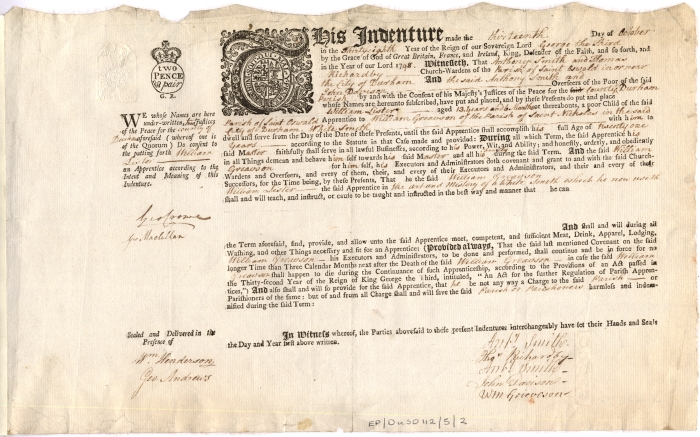Apprenticeship indenture for William Lister, 1798 (EP/Du.SO 112/5/2) - Copyright © Durham County Record Office