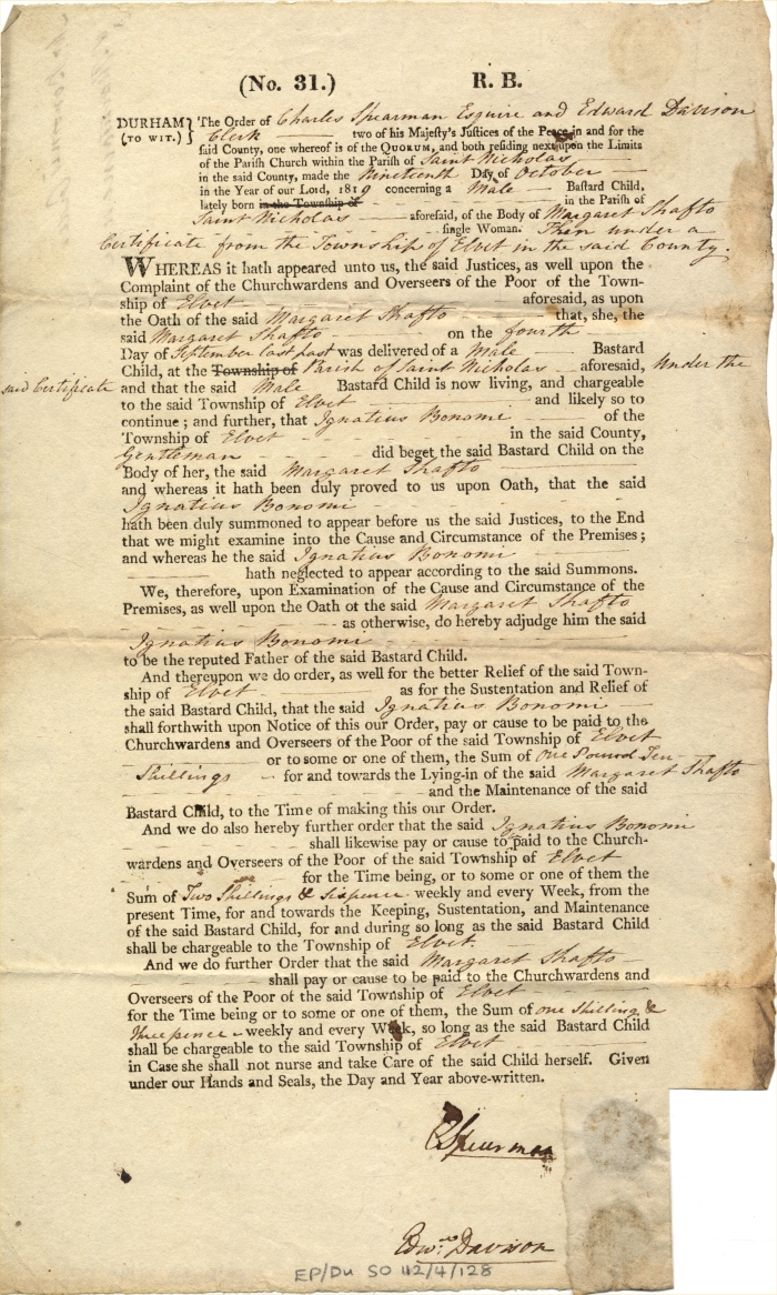 Maintenance order against Ignatius Bonomi, 1819 (EP/Du.SO 112/4/128) – Copyright © Durham County Record Office.