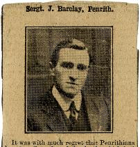 Photograph of Sergeant John Barclay, from newspaper, 1918 (E/HB 2/235 p.160)
