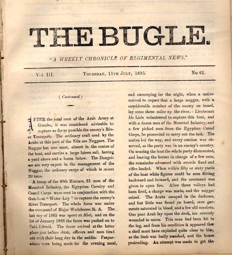 The Bugle, 11 July 1895, p.701 (courtesy of the DLI Museum) - Copyright © Durham County Record Office