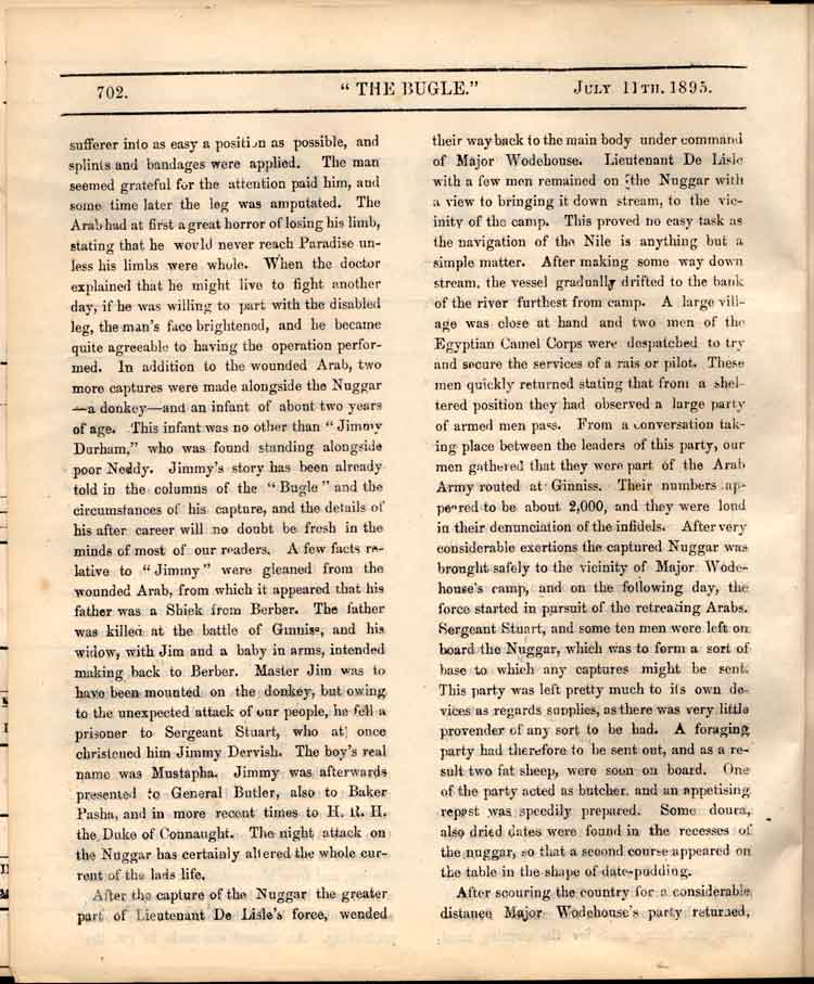 The Bugle, 11 July 1895, p.702 (courtesy of the DLI Museum)