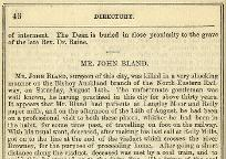 Obituary of John Bland, 1869 (Library J60) - click to enlarge