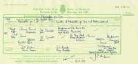 Marriage Certificate, Register Office, Newcastle-upon-Tyne