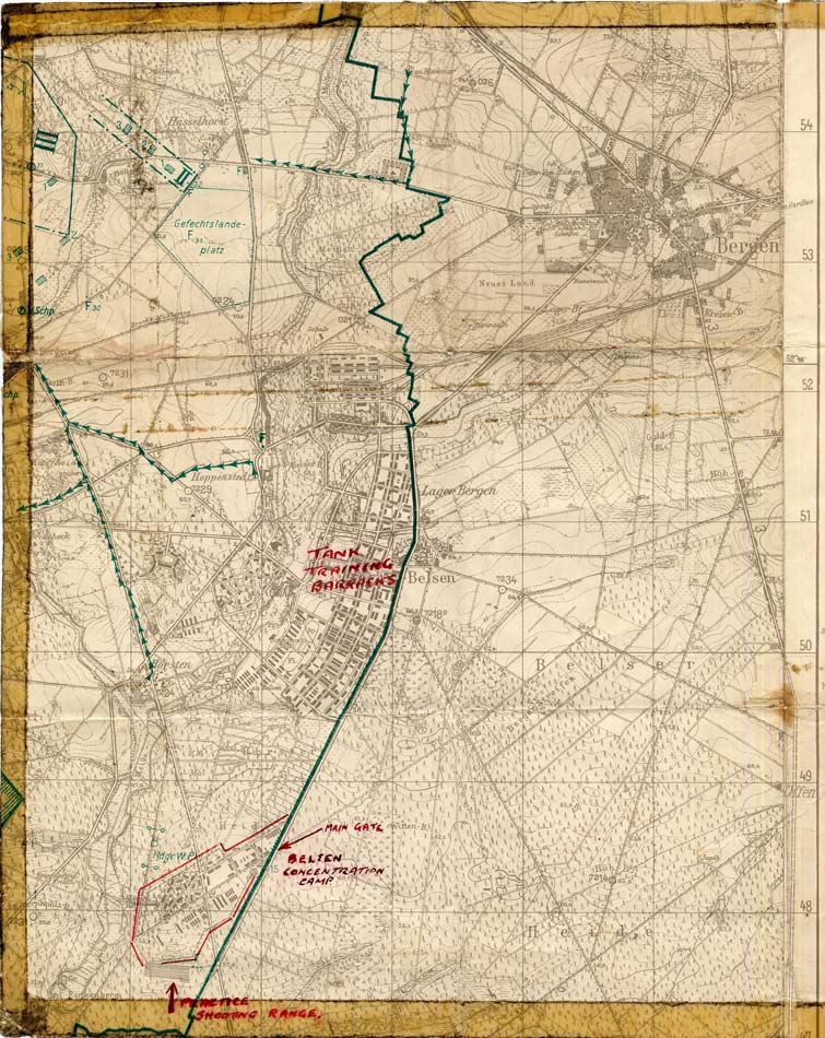 Map of Belsen area, 1940s (D/DLI 7/404/52) - Copyright © Durham County Record Office.