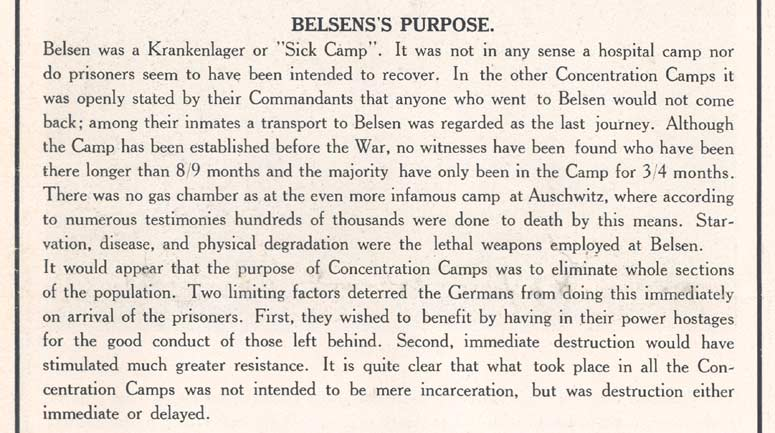 'The Story of Belsen', p.10, Belsen's purpose (D/DLI 7/404/10) - Copyright © Durham County Record Office.