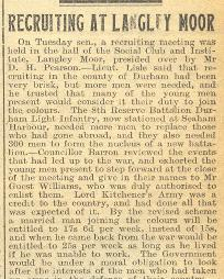 Newspaper article 'Recruiting at Langley Moor', 12 February 1915 (D/WP 1/76) - Copyright © Durham County Record Office