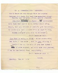 Poem 'To a Conscientious Objector' by Henry M. Wallis, c.1917 (D/WA 5/3/5(9)) - Copyright © Durham County Record Office