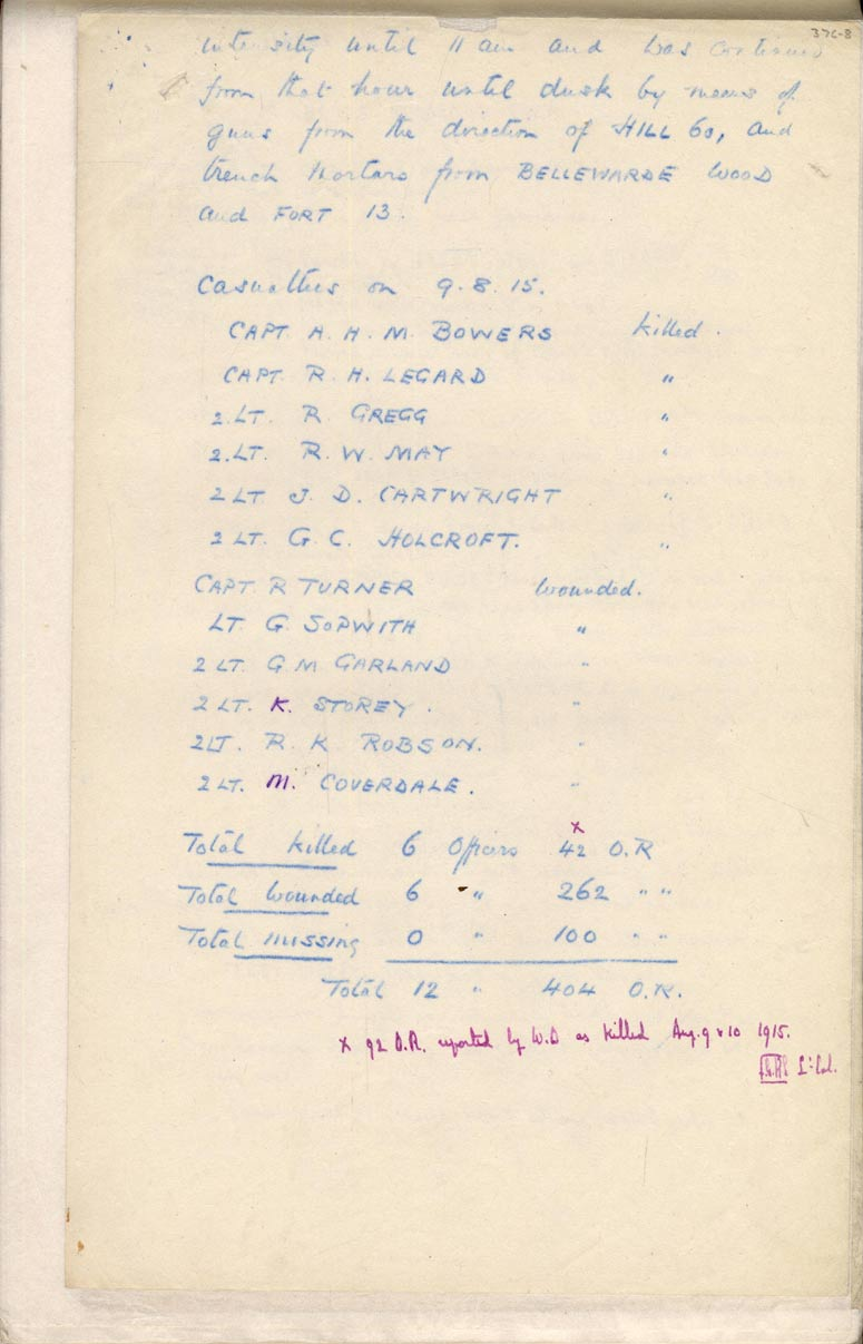 War Diary of 2DLI, 9 August 1915 (D/DLI 2/2/1) - Copyright © Durham County Record Office.