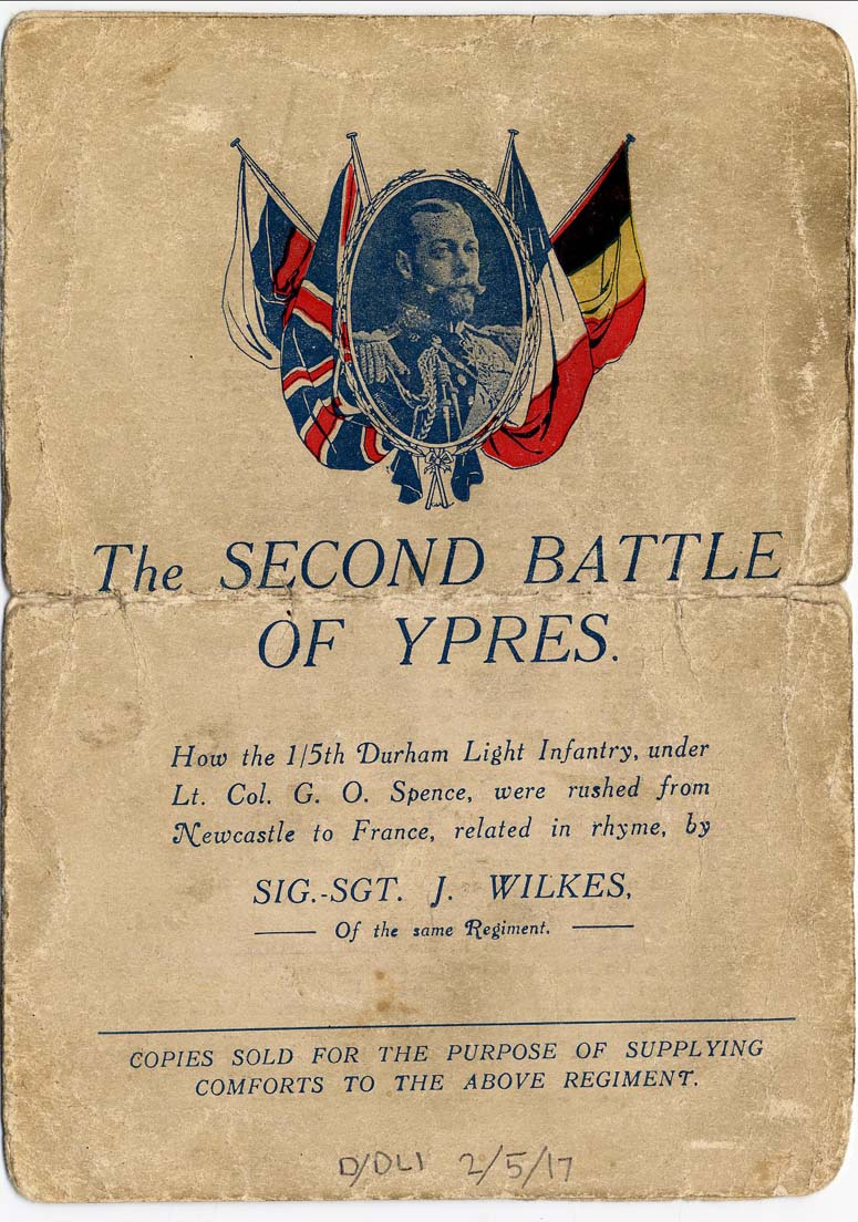 Poem 'The Second Battle of Ypres' by Signal Sergeant Wilkes, 1915, p.1 (D/DLI 2/5/17) - Copyright © Durham County Record Office.