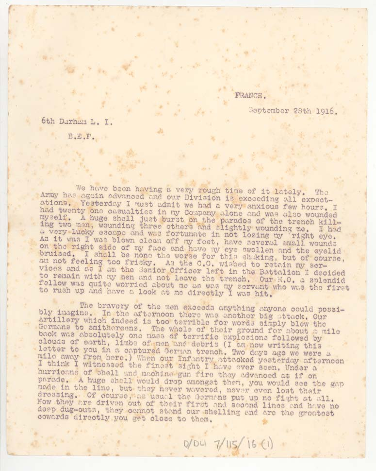 Letter from Lieutenant Catford, 28 September 1916, p.1 (D/DLI 7/115/16) - Copyright © Durham County Record Office.