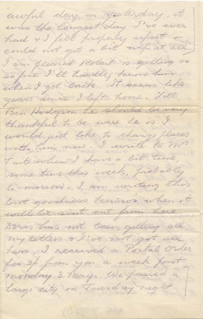 Letter from Sergeant Constantine, 13 May 1915, p.1 (D/DLI 7/137/5) - Copyright © Durham County Record Office.