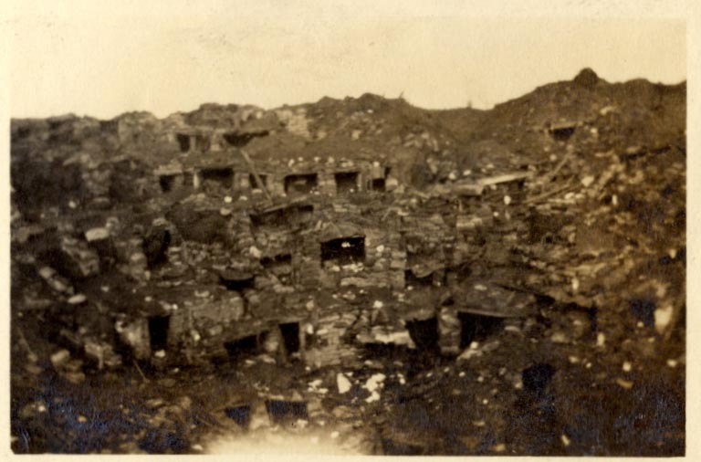 Photograph of the mine crater at Hooge, August 1915 (D/DLI 7/87/2 (21)) - Copyright © Durham County Record Office.