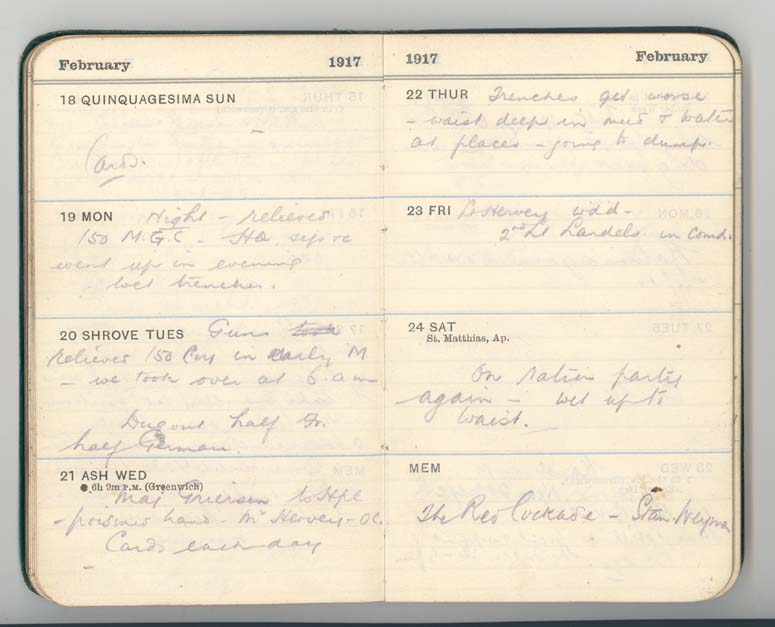 Extract from Sergeant Barclay's diary, 24 February 1917 (D/DLI 7/41/3) - Copyright © Durham County Record Office.