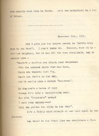 Letter from Second Lieutenant Gamble, 20 November 1915, p.1 (Acc. 3290(D)) - Copyright © Durham County Record Office.