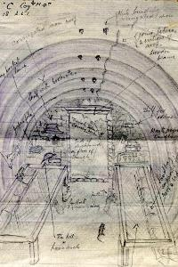 Sketch of a dug out by Second Lieutenant Stafford, 1917 (D/DLI 7/662/2/112) - Copyright © Durham County Record Office.