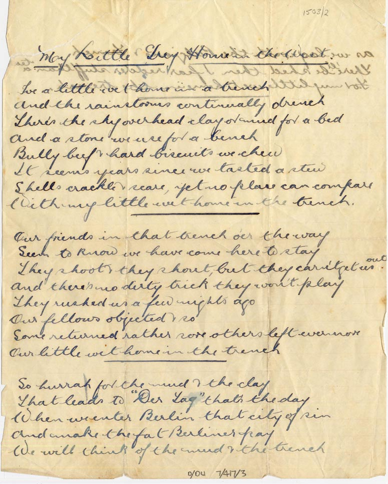 Poem 'My Little Dry Home in the West', c.1915, p.1 (D/DLI 7/417/3) - Copyright © Durham County Record Office.