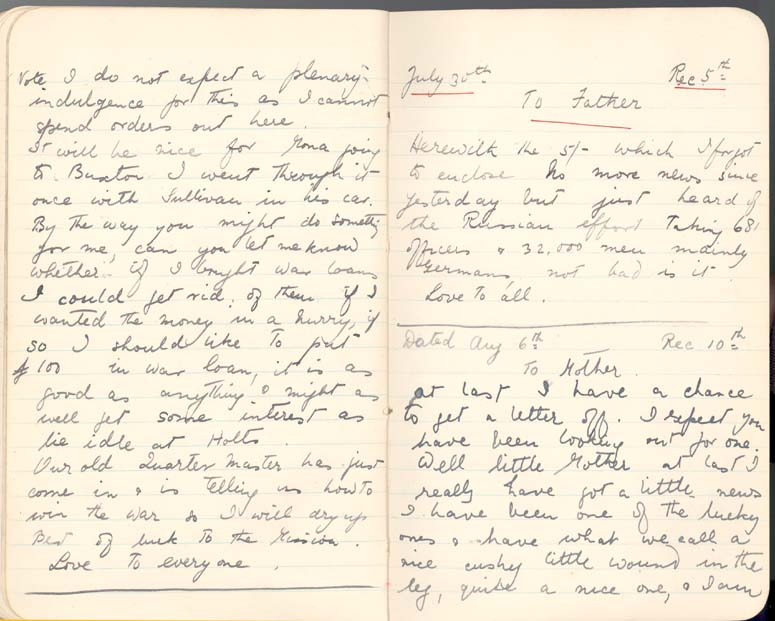 Letter from Lieutenant Rees, 6 August 1916, p.3 (D/DLI 7/560/4) - Copyright © Durham County Record Office.
