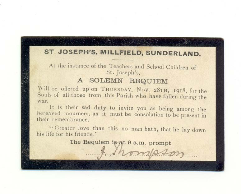 Invitation to requiem at St. Joseph's church, Millfield, 28 November 1918 (D/DLI 7/929/6) - Copyright © Durham County Record Office.