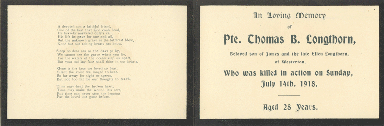 In Memoriam card for Private Longthorn, July 1918, p.2 (D/DLI 7/353/7) - Copyright © Durham County Record Office.