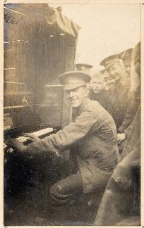 Photograph of 'Barney' McArdle playing the piano, c.1915 (D/DLI 2/7/18(84)) - Copyright © Durham County Record Office.