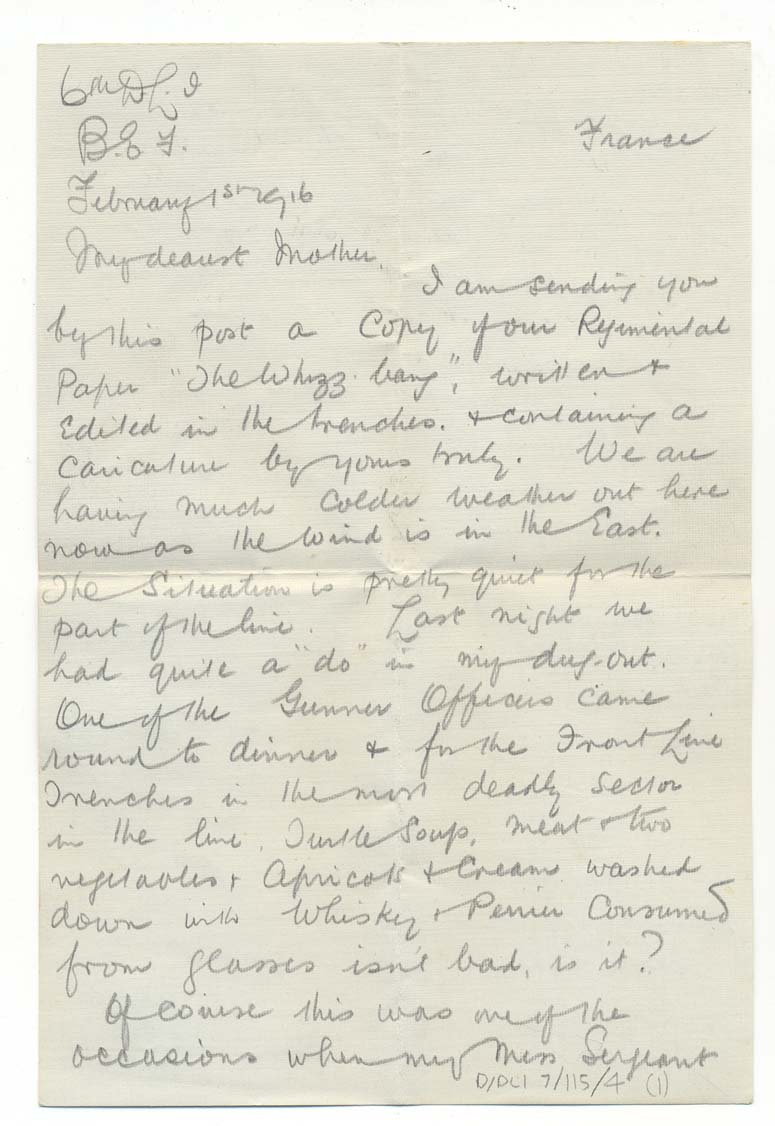 Letter from Lieutenant Catford, 1 February 1916, p.1 (D/DLI 7/115/4) - Copyright © Durham County Record Office.