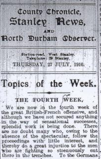 Newspaper article 'The Fourth Week' from the Durham Chronicle, Thursday 27 July 1916 (D/WP 2/61) - Copyright © Durham County Record Office.