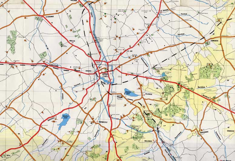 Map of Ypres area, late 20th Century (D/DLI 7/26/17) - Copyright © Durham County Record Office