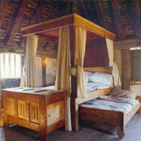 Bedroom in medieval farmhouse - photograph provided by The Weald & Downland Open Air Museum, Chichester, West Sussex