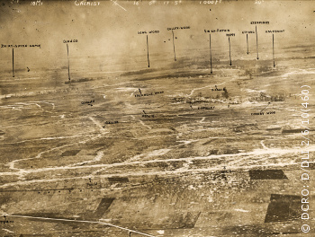 Aerial photo of trench positions around Cherisy, France, 16 June 1917