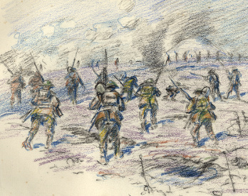 Sketch of the attack on the Butte de Warlencourt, by Captain Mauchlen, Nov 1916 (D/DLI 7/920/10(5)) – Copyright © Durham County Record Office