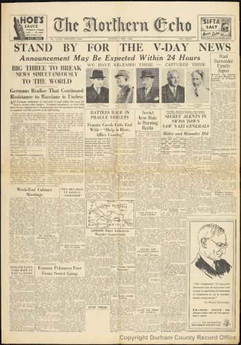 The Northern Echo, Monday 7 May 1945 (D/Dor 7/5)