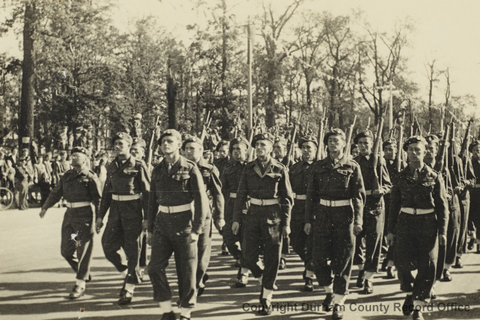 Berlin Victory Parade, 9th Battalion DLI, 7 September 1945. Captain Roy Griffiths, back in his regulation British Army boots, is marching third from the right in the second row. Photograph is from Roy Griffiths' album (D/DLI 7/273/15 (18))