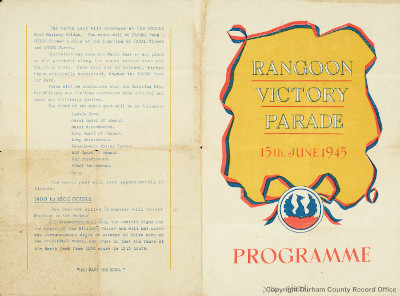 Cover of programme, Rangoon Victory Parade, Burma (D/DLI 7/833/1)