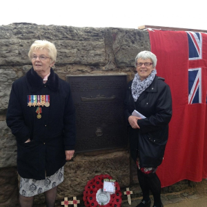 Pamela Harper and Celia Turnbull at the unveiling of a memorial plaque to the Avondale Park at Anstruther on the north shore of the Firth of Forth. The Northern Echo, 12 May 2015