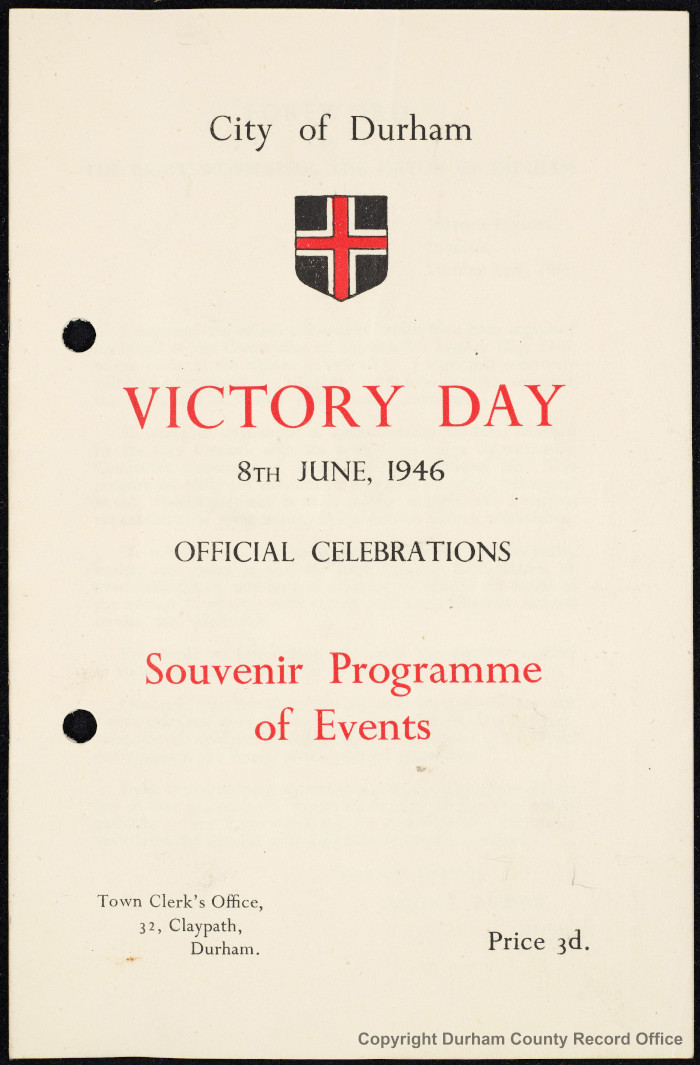 Victory Day Programme from City of Durham's Clerk's Department, FGP 1/36 - cover (Du/Appendices (Acc:1768))