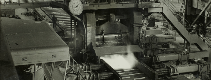 Main mill in operation, Consett Steel Works, 4 November 1960 (D/Co 12/11(59)) - Copyright © Durham County Record Office