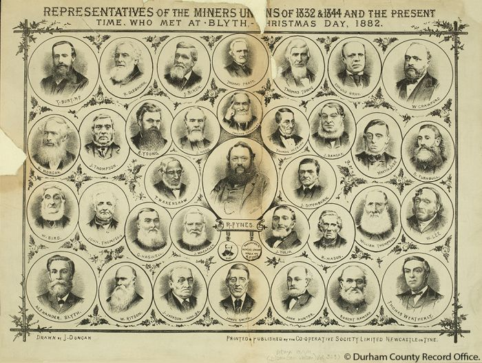 Representatives of the Miners Unions who met at Blyth, - Christmas Day, 1882', including an image of Thomas Hepburn (D/DMA 13/1/11) - © Durham County Record Office