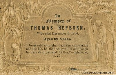 Funeral card for Thomas Hepburn, 9 December 1864  (D/X 192/1) - © Durham County Record Office
