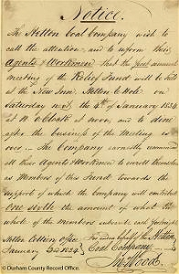 Notice of annual meeting of Hetton Colliery Relief Fund, 3 January 1834 (D/X 126/2) - © Durham County Record Office
